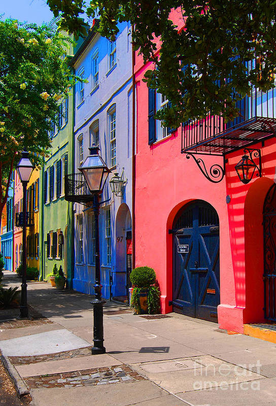 Rainbow Row Charleston Art Print By Skip Willits