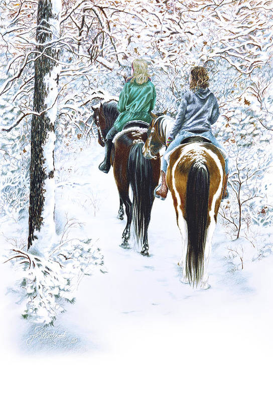 Snow Art Print featuring the drawing Ride Into Faerieland by Jill Westbrook