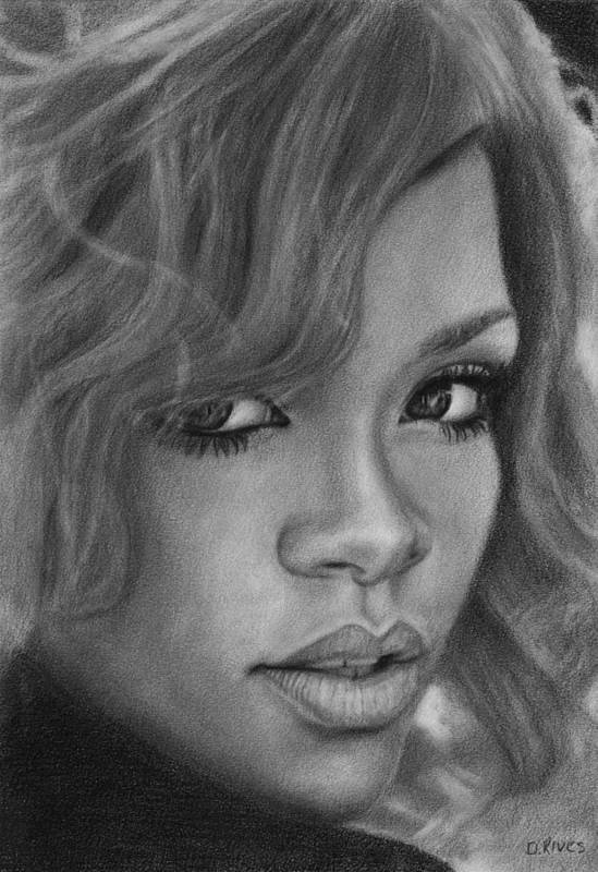 Pop Music Art Print featuring the drawing Rihanna Pencil Drawing by David Rives