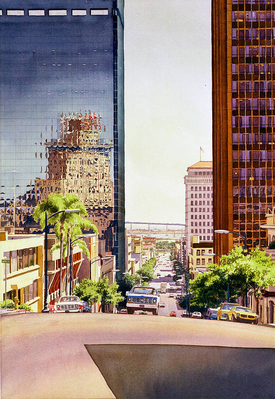 San Diego Art Print featuring the painting Seventh Avenue In San Diego by Mary Helmreich
