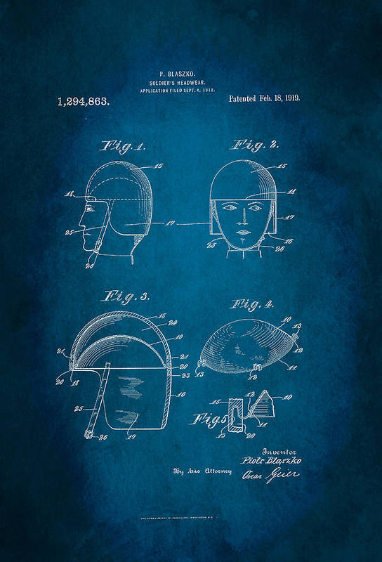 Soldier's Headwear Patent 1919 Art Print featuring the digital art Soldier's Headwear Patent 1919 by Patricia Lintner
