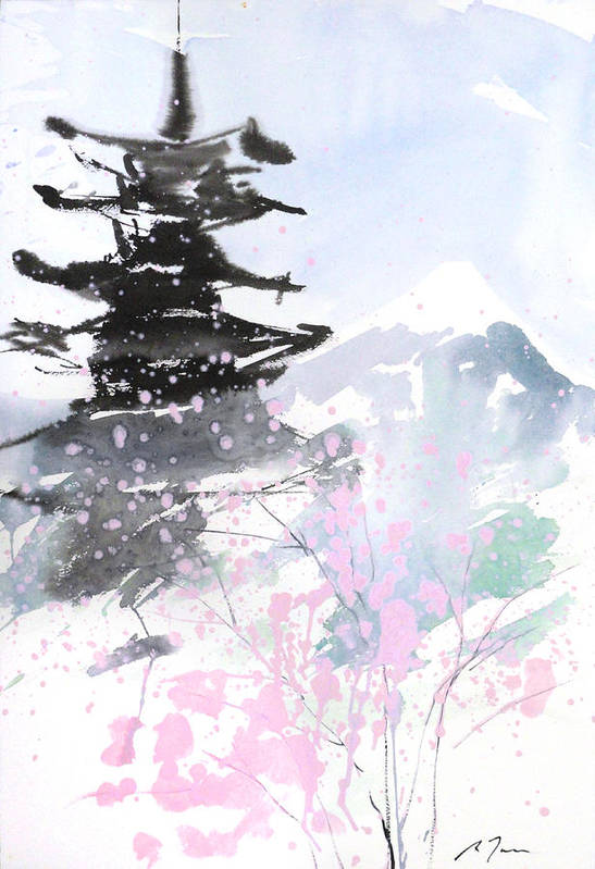 Woods Art Print featuring the painting sumie No.10 Pagoda and Mt.Fuji by Sumiyo Toribe