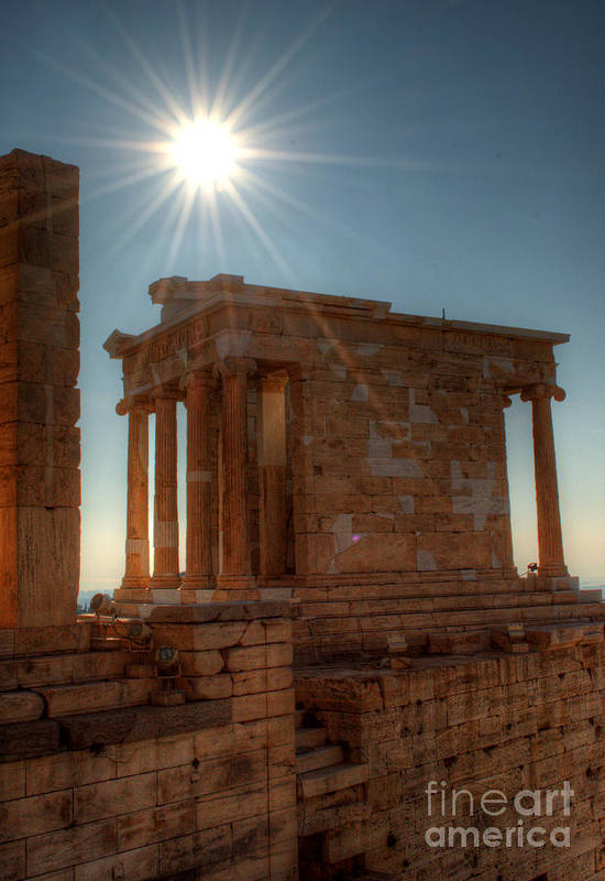 Greece Print featuring the photograph Sun Over Athena Nike Temple by Deborah Smolinske