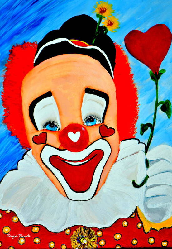 Clown Art Print featuring the painting Sunny The Clown......... by Tanya Tanski