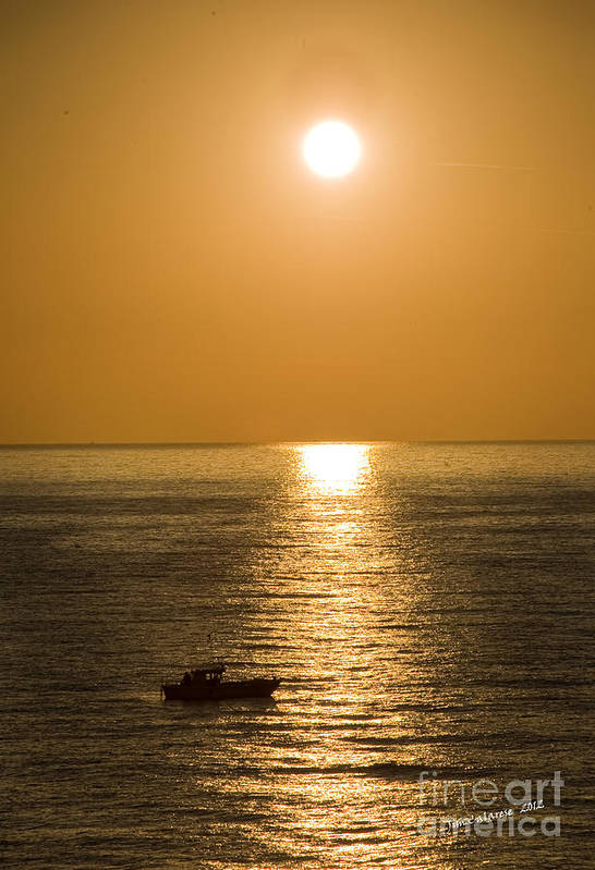Sunrise Over The Mediterranean With Silhouette Of Boat Crossing The Sun's Resfection In The Water Art Print featuring the photograph Sunrise Over The Mediterranean by Jim Calarese