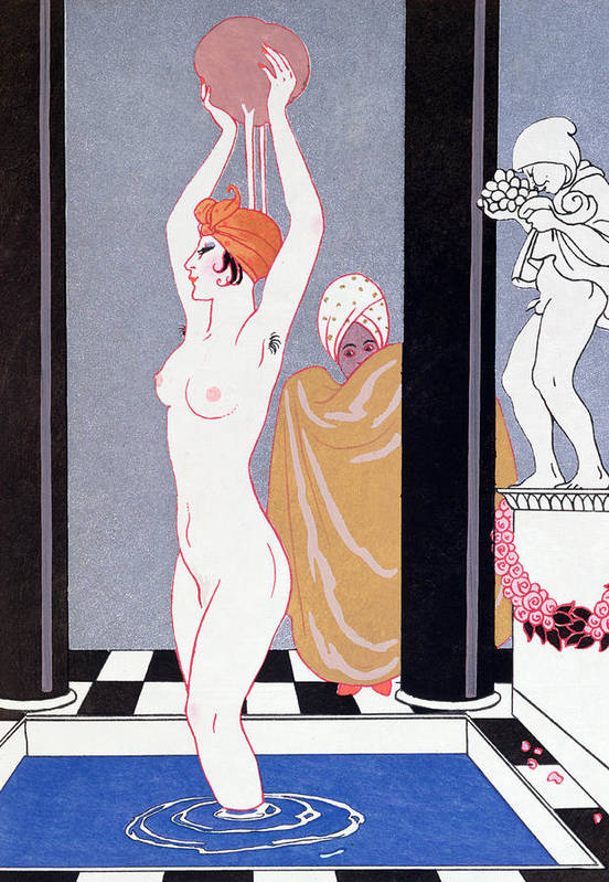 Female Art Print featuring the painting The Basin by Georges Barbier