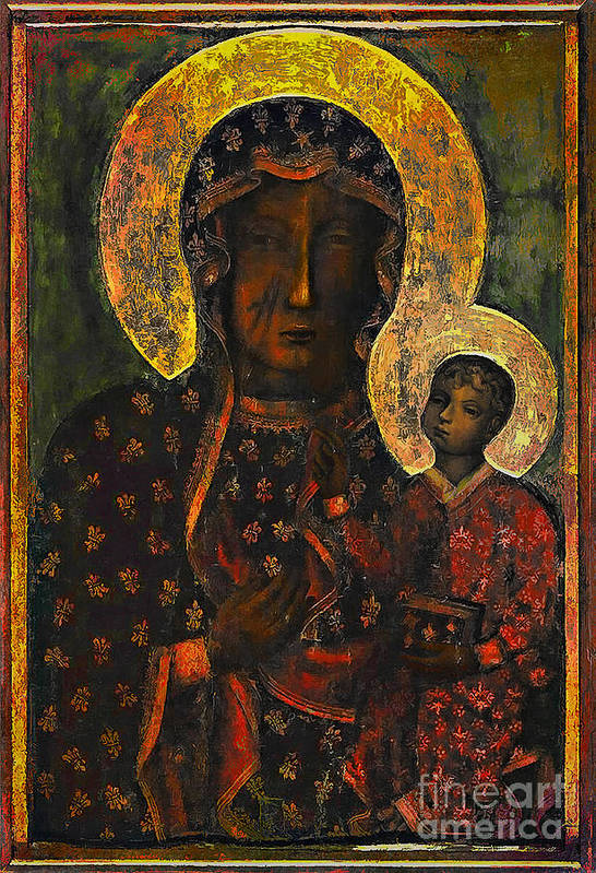 Poland Art Print featuring the painting The Black Madonna by Andrzej Szczerski
