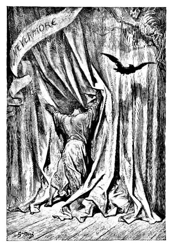 The Raven Art Print featuring the drawing The Raven Nevermore Illustration Engraving by