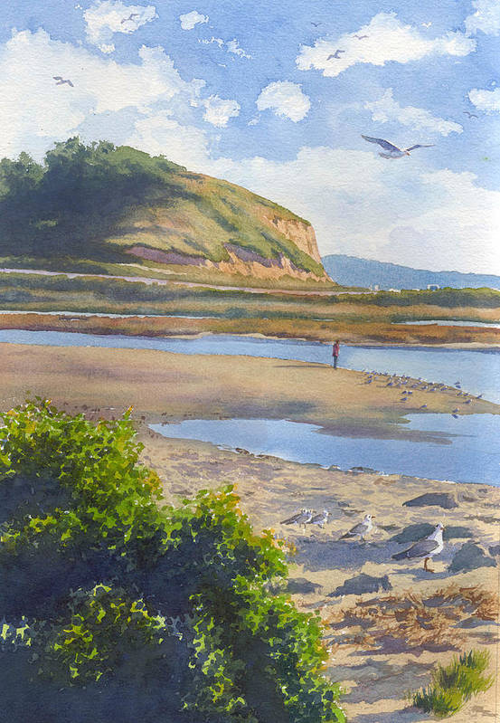 Torrey Pines Art Print featuring the painting Torrey Pines Inlet by Mary Helmreich