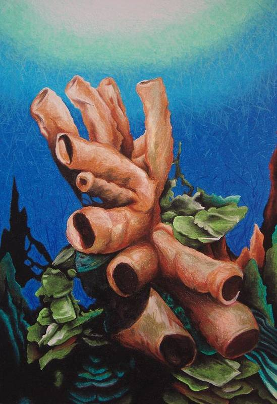Tube Coral Art Print featuring the painting Tube Coral by William Love