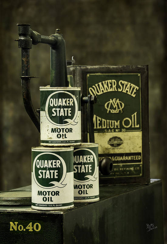 Quaker State Art Print featuring the photograph Vintage Quaker State Motor Oil by Betty Denise