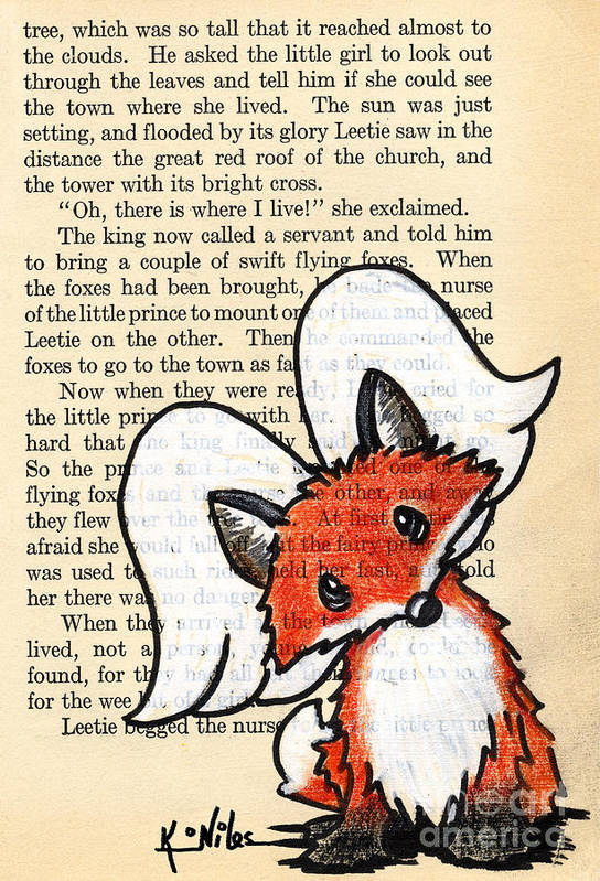 Fox Art Print featuring the drawing Winged Fox by Kim Niles