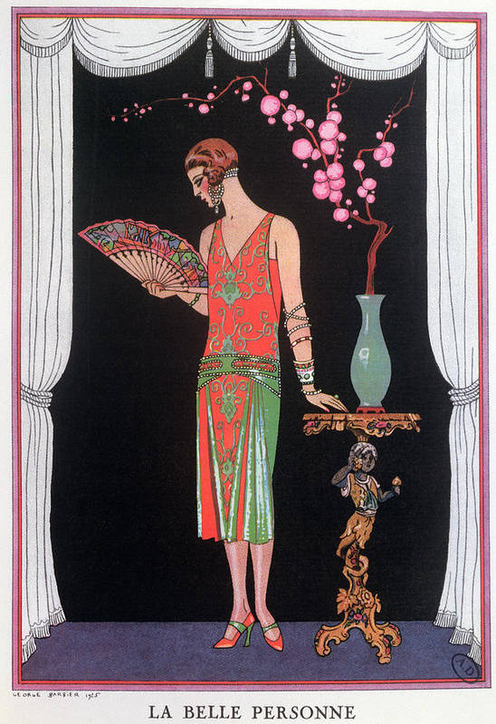 Gravure De Mode Art Print featuring the painting Worth Evening Dress Fashion Plate From Gazette Du Bon Ton by Georges Barbier
