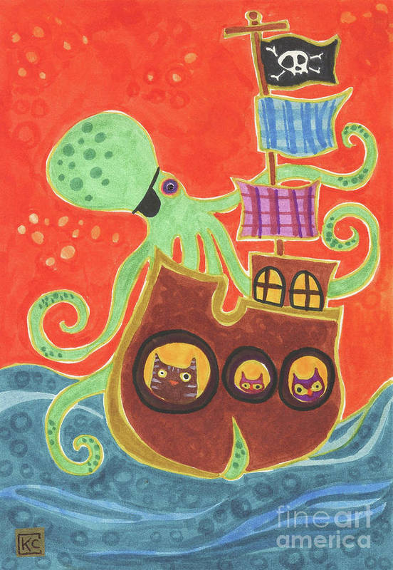 Pirate Art Print featuring the painting You've Been Pirated by Kate Cosgrove