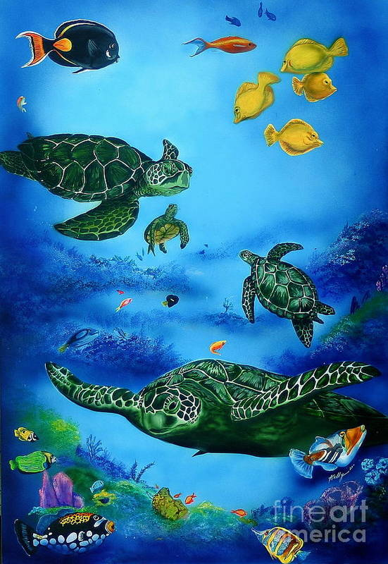 Turtles Art Print featuring the painting The Beauty Below by Kathleen Kelly Thompson
