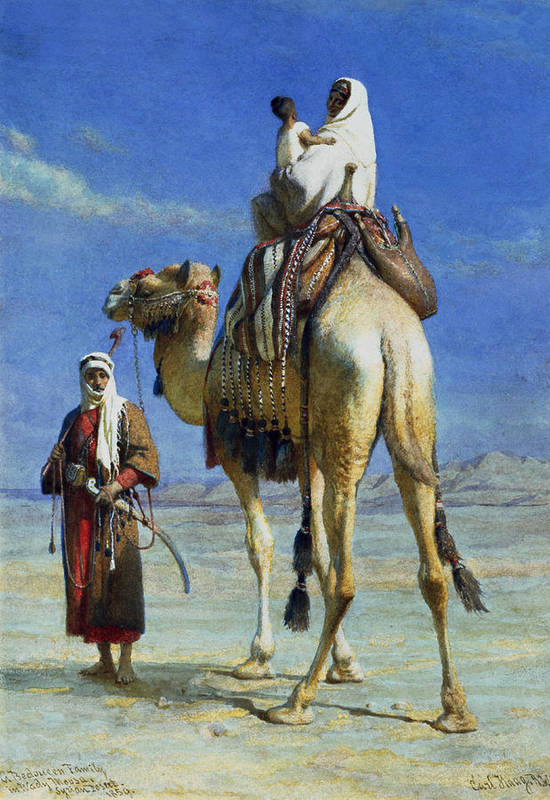 Orientalist; Bedouin; Wadi; Camel; Arab Art Print featuring the painting A Bedoueen Family In Wady Mousa Syrian Desert by Carl Haag
