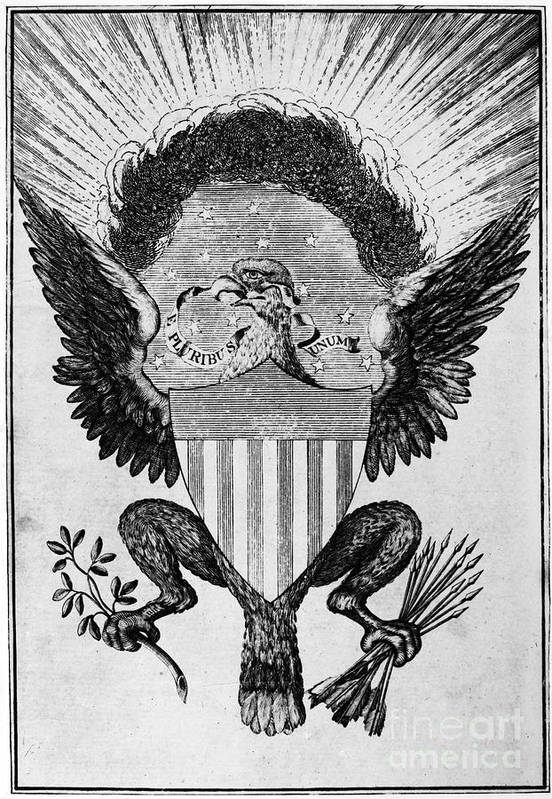 1786 Art Print featuring the photograph America: Coat Of Arms by Granger