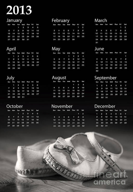 2013 Art Print featuring the photograph Baby Shoes Calendar 2013 by Jane Rix