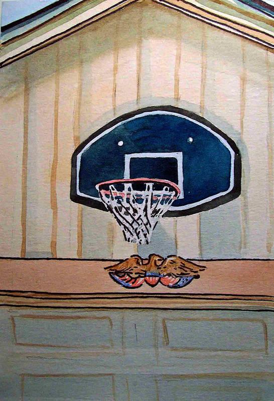 Basketball Art Print featuring the painting Basketball Hoop Sketchbook Project Down My Street by Irina Sztukowski