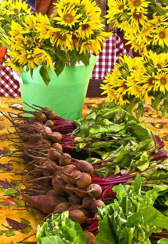 Markets Art Print featuring the photograph Beets And Sunflowers by Betty Eich