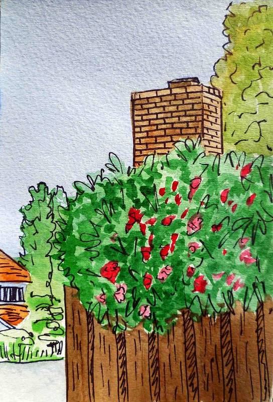 Chimney Art Print featuring the painting Behind The Fence Sketchbook Project Down My Street by Irina Sztukowski