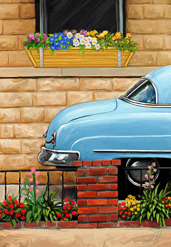 Old Car Art Print featuring the painting Clunker In The Garden by David Kyte