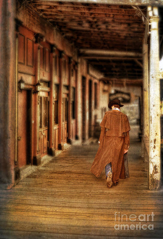 Cowboy Boots Art Print featuring the photograph Cowboy In Old West Town by Jill Battaglia