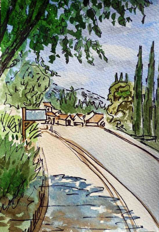 Sketch Print featuring the painting Empty Road Sketchbook Project Down My Street by Irina Sztukowski