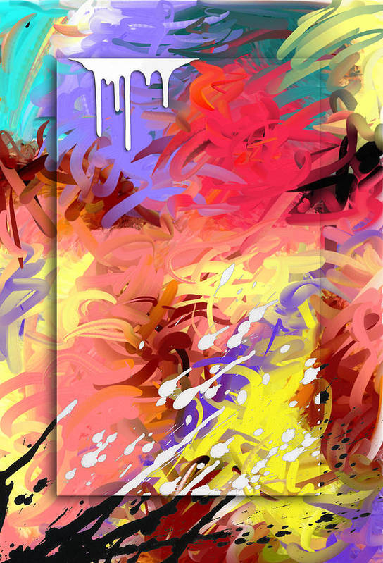 Abstract Art Print featuring the painting Happiness by Snake Jagger