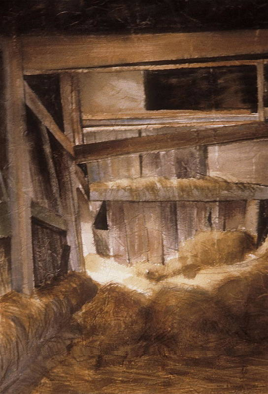 Wood Art Print featuring the painting Inside Keeler's Barn by Karol Wyckoff