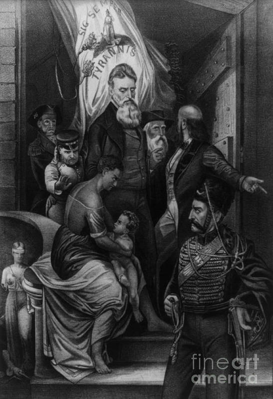 History Art Print featuring the photograph John Brown Meeting Slave Mother by Photo Researchers
