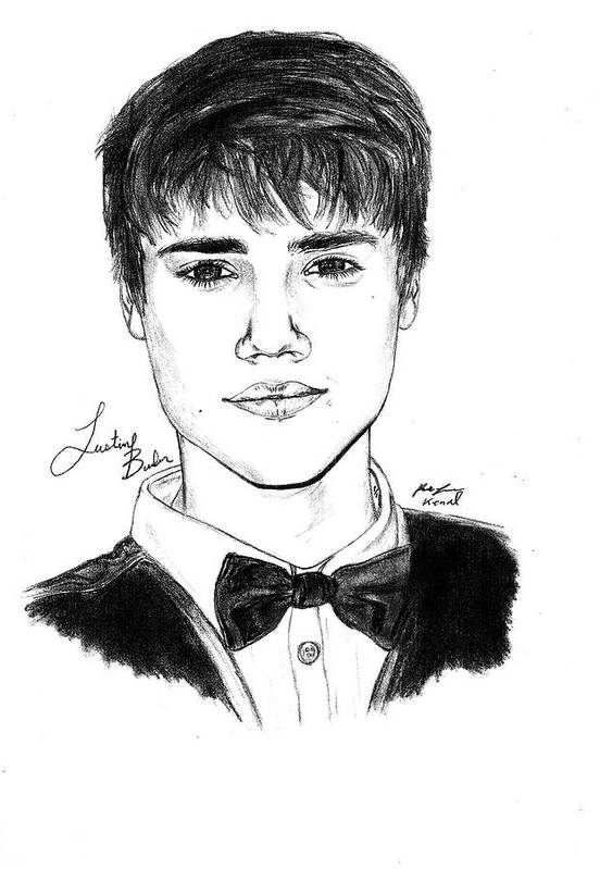 Justin Bieber Suit Drawing Print featuring the drawing Justin Bieber Suit Drawing by Kenal Louis