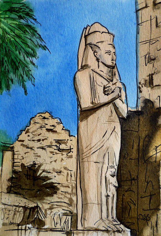 Karnak Temple Art Print featuring the painting Karnak Temple Egypt by Irina Sztukowski