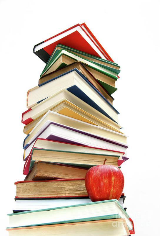 Apple Art Print featuring the photograph Large Pile Of Books Isolated On White by Sandra Cunningham