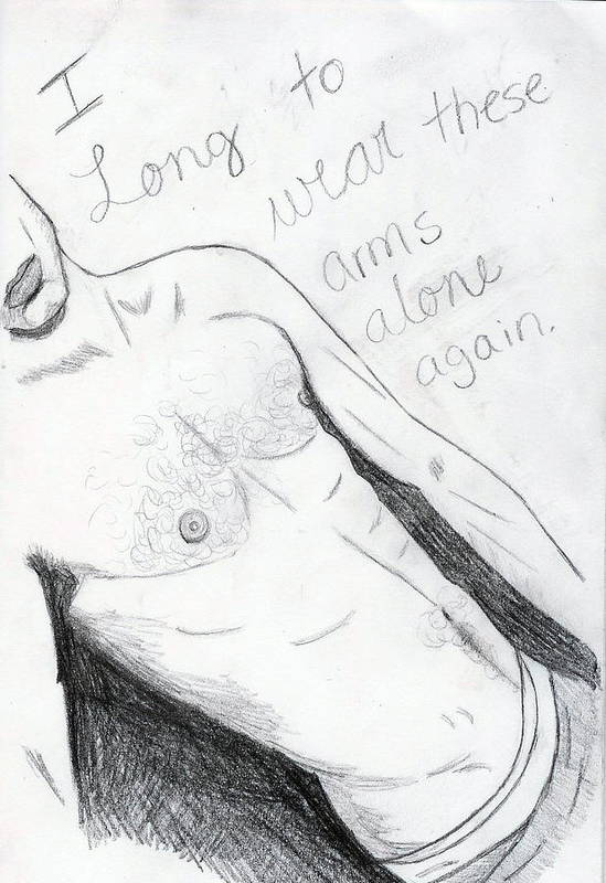 Male Art Print featuring the drawing Longing by Rebecca Wood