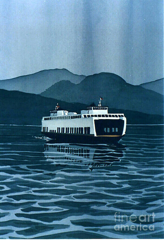Washington Print featuring the painting Rainy Ferry by Scott Nelson
