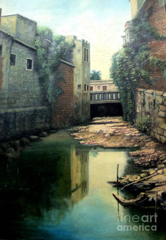 Landscape Art Print featuring the painting Rio Jigue by Makam art