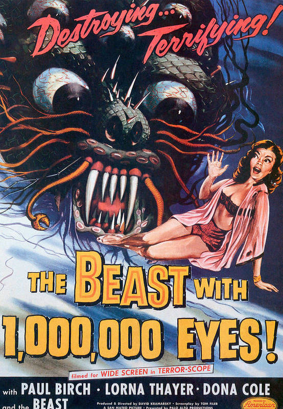 1950s Poster Art Art Print featuring the photograph The Beast With A Million Eyes, 1955 by Everett