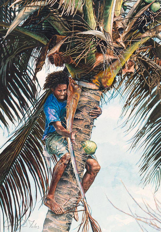 Tree Art Print featuring the painting The Coconut Tree by Gregory Jules