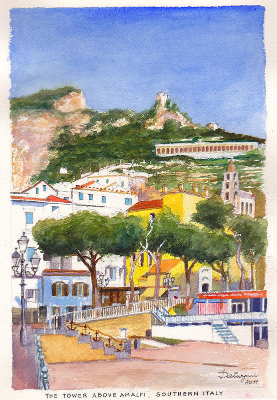 Beach Art Print featuring the painting The Ruined Tower Above The Beach At Amalfi On The Southern Italian Coast by Dai Wynn