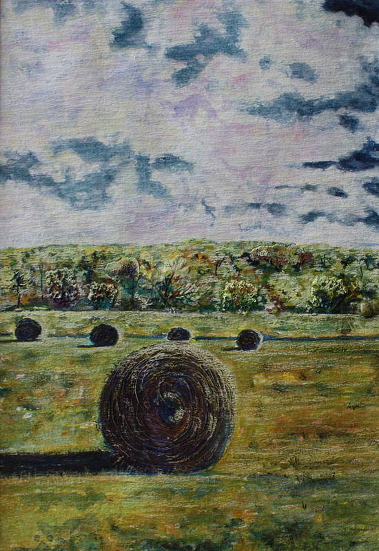 Turbulent Skies Art Print featuring the painting Uncertain Skies by Patsy Sharpe