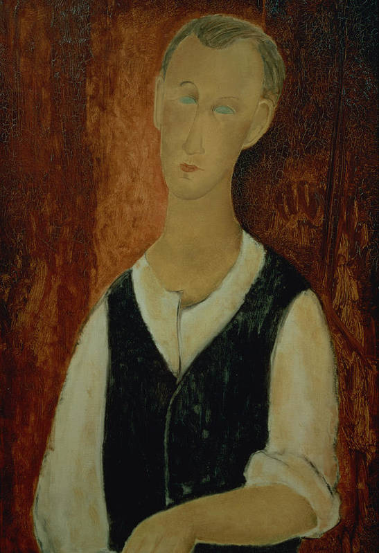 Portrait; Male; Elongation; Blue Eyes Art Print featuring the painting Young Man With A Black Waistcoat by Amedeo Modigliani