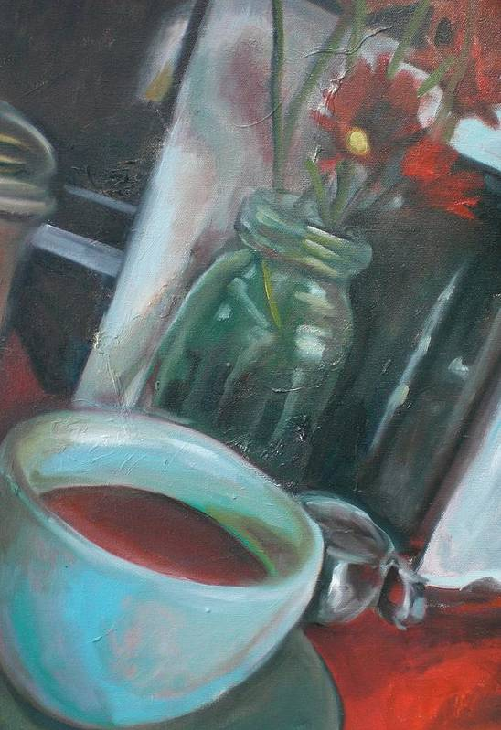Diner Art Print featuring the painting A Cup Of Joe by Aleksandra Buha
