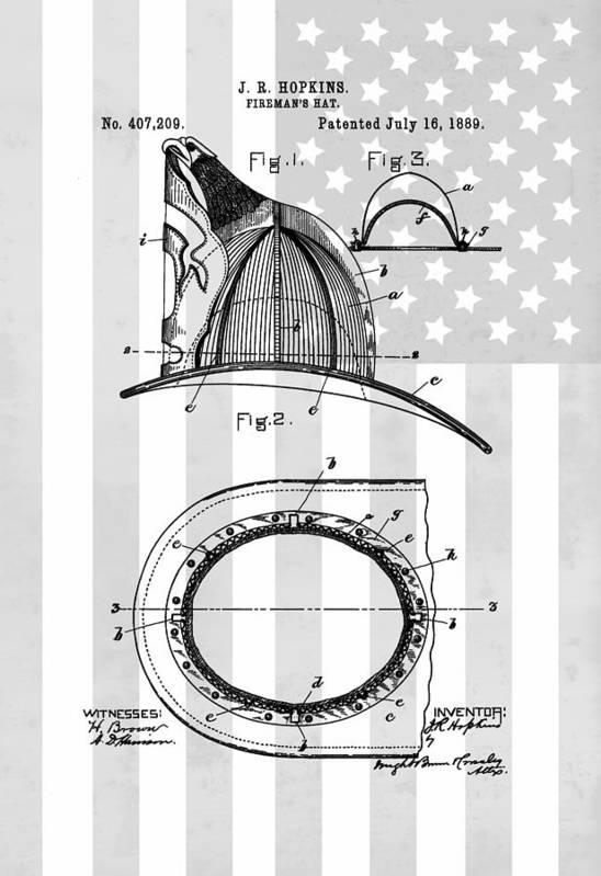 American Firefighter's Helmet Art Print featuring the drawing Fireman's Helmet Patent by Dan Sproul
