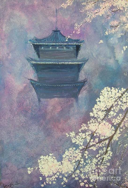 Landscape Japan Art Print featuring the painting Japanese Spring Scene by Lizzy Forrester