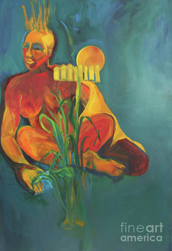 Oil Painting Art Print featuring the painting Lady In The Weeds by Daun Soden-Greene