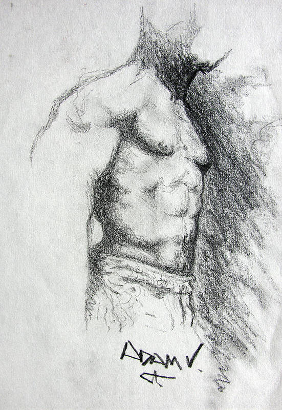 Men Art Print featuring the drawing Untitled by Adam Vance