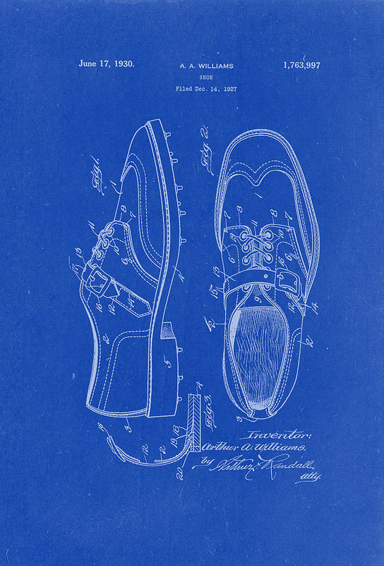 1930 golf shoes patent drawing blueprint art print by patently artful patent drawing art print featuring the drawing 1930 golf shoes patent drawing blueprint by patently artful malvernweather