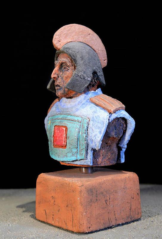 Warriors Print featuring the sculpture Roman Legionaire - Warrior - Ancient Rome - Roemer - Romeinen - Antichi Romani - Romains - Romarere by Urft Valley Art