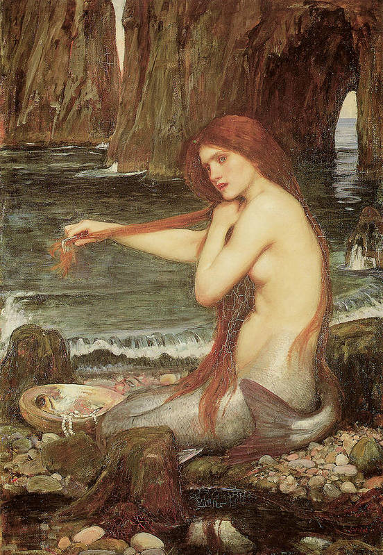John William Waterhouse Art Print featuring the painting A Mermaid by John William Waterhouse
